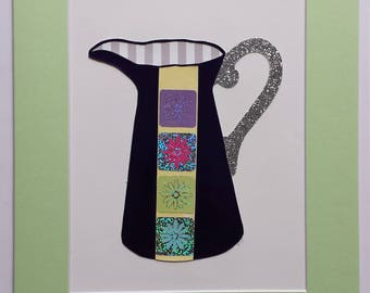 Original paper collage matted for hanging – Pitchers & Bowls Series #21