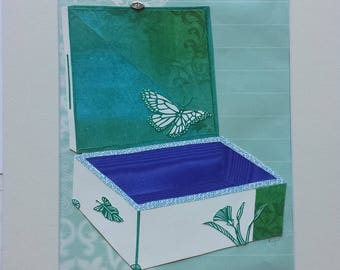 Original paper collage matted for hanging -- Boxes Series 2017 #15 - Butterfly Wall Art in Blue and Green