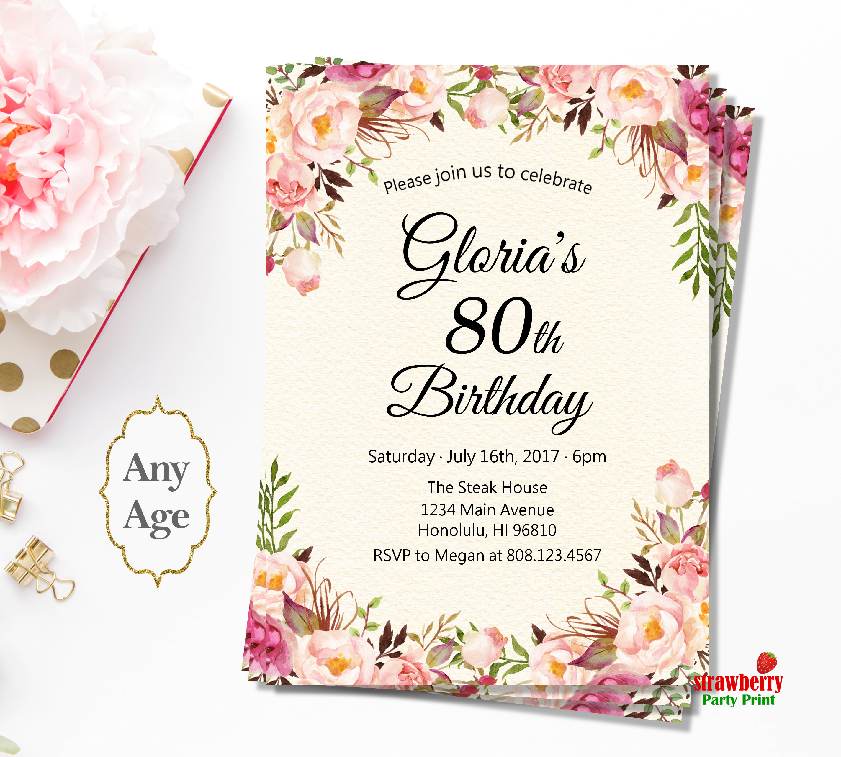 Well Known Women Birthday Invitations For Any Age Pink Floral HZ03