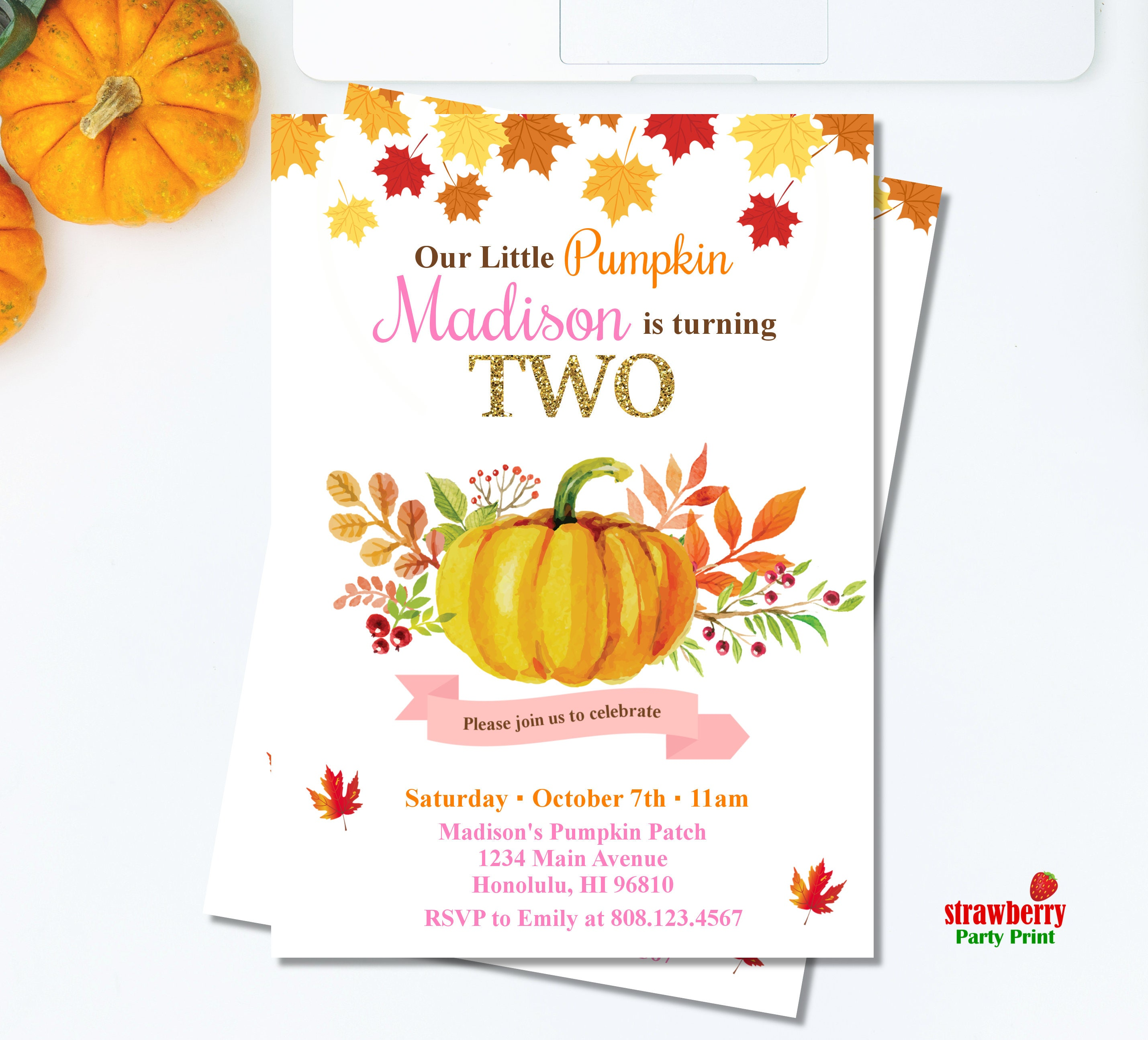 Pumpkin Patch 2nd Birthday Invitations | Visorgede.co
