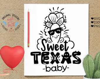 svg design, texas svg, sweet texas baby, cactus svg, texas cutting file, cactus cutting file, summer svg, girls svg, baby svg, texas design