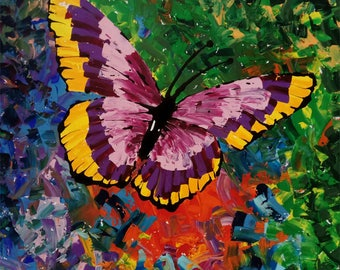 "Butterfly Painting "" Original Handmade acrylic Painting on canvas , By Tomer Sharabani"