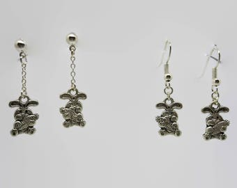 Earrings rabbit and his carrot - Silver - 3.5 cm
