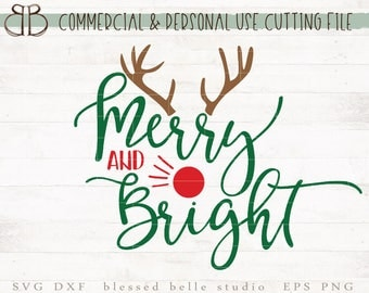 Merry and Bright svg, reindeer svg, merry and bright reindeer svg, Christmas svg, eps, dxf, png cut file, Silhouette, Cricut