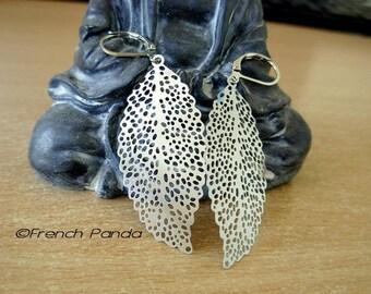 Pair of earrings silver-tone stainless steel