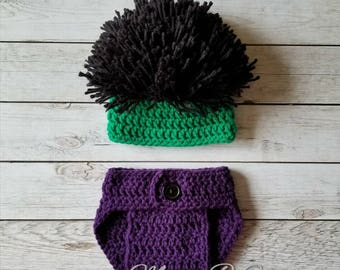 Crochet Hulk Baby Set, Incredible Hulk Hat, Hulk Photo Prop, Crochet Photo Prop Set, Photo Prop Baby Set, Hulk Costume