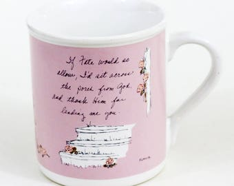 Flavia Weedn Cup Mug by Papel, Thanks to God for You, Pink, Vintage, Mint