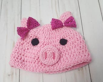 Pink Pig Hat, Child Pig Hat, Pink Piggy Beanie, Pig Pink Toddler Hat, Coming Home, First Birthday Outfit, Photo Prop, Cake Smash Outfit