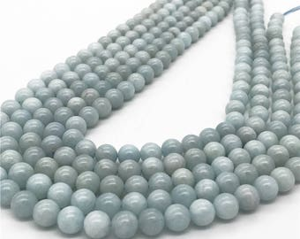 8mm Aquamarine Beads, Round Gemstone Beads, Wholesale Beads