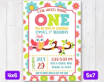 Owl birthday invitation, Owl Invitation, Owl Invite, Owl birthday, Owl party, 1st birthday, Girl first birthday party, Pink, Green, Blue