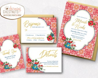 Spanish tile Wedding Invitation Set, destination wedding, Mexican wedding invitation, red mosaic wedding, spanish invitation, Spanish tile