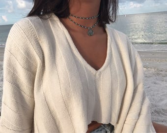 Rustic Silver Blue Beaded Rosary Chain Indian Coin Double Wrap Choker Necklace, Boho Choker Necklace, Layered Choker, Gift for her