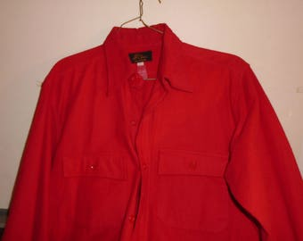 Rare 1950's L.L Bean Red Chamois Cloth Button Down Shirt Size large 15 1/2