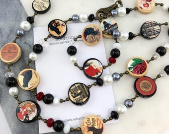 Vintage Postcards Photobeads Necklace with crystals and glass pearls - Paris postcards theme
