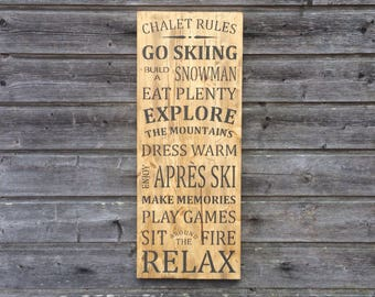 Chalet rules / Wooden wall decor / Wood sign / 79cmx31cm / Chalet decor / Ski / Chalet / Ski sign / Wood decor
