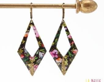 Diamond black floral pattern and glitter resin earrings