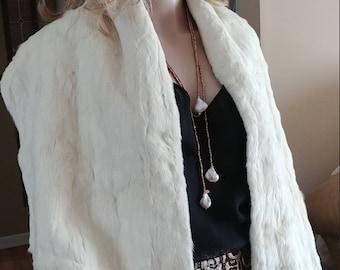 White Ermine Fur Shawl Wrap With 42 Tails
