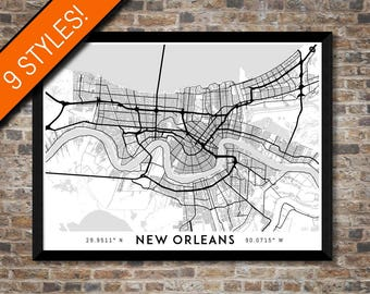 Every Road in New Orleans map art | Printable New Orleans map print, New Orleans print, New Orleans poster, New Orleans art, Wall art map