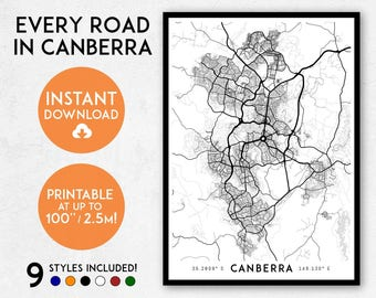 Canberra map print, Printable Canberra map art, Canberra print, Australia map art, ACT map, Canberra art, Canberra poster, Canberra wall art