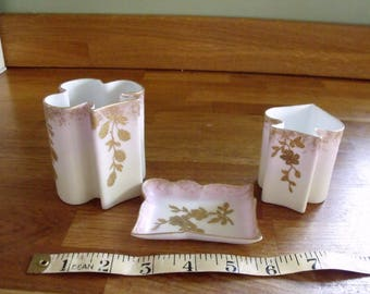 Limoges Pink Blush with gilded flowers dressing table set O.BAE
