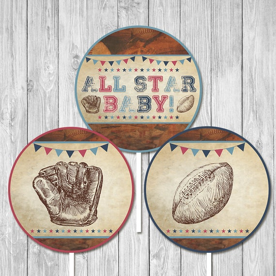 Vintage Sports Baby Shower Centerpiece - Baby Shower Party Centerpiece - Couples Baby Shower - All Star Baby - Baseball Baby Shower Favors