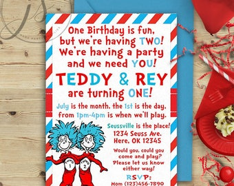 Thing 1 and Thing 2 Birthday Invitation; Seuss Birthday; Thing 1 and Thing 2 Party; Cat In The Hat; Printable Invitation; Digital File; DIY