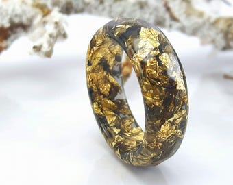 Resin Stacking Ring Black Gold Flakes Small Faceted Ring OOAK  minimalist jewelry