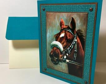 Thoroughbred Card - Race Horse Card - Horse Racing - Horse Card - Handmade Card