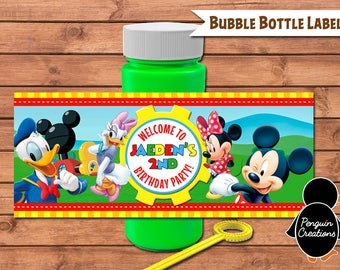 Mickey Bubble Bottle Label. Mickey Mouse Club House Birthday. Baby Shower. Party Supplies. Digital File