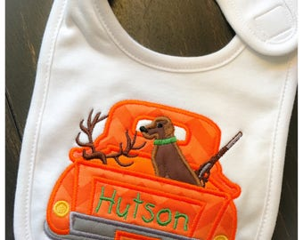 Hunting Truck with Dog Baby Bib