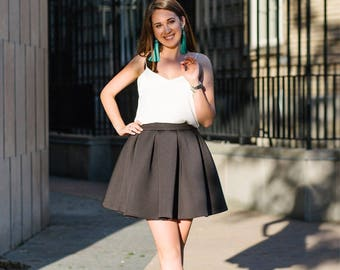 Neoprene skirt; Black skirt; Neoprene; Mini skirt; Circle skirt; Skirt from neoprene; Pleated skirt; Black girly skirt; Summer skirt