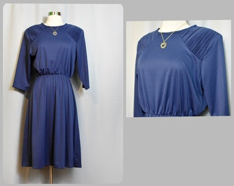 Blair Blue 80s Dress with Original Matching Necklace NOS