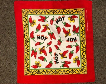 Vintage 80s 90s Hot Pepper Red Chili Pepper Southwest Bandana Retro