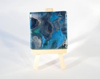 Blue Green Abstract Art - Mini Canvas Art - Mini Art Painting - Original Artwork - Gift for Teacher - College Gift - Stocking Filler Present