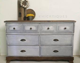 Gray Dresser, Distressed Vintage 6 Drawer Solid Wood Grey Bedroom Storage, Hand Painted Farmhouse Cottage Home Furnishings, Painted Layers