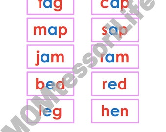 Montessori Pink Series Photo and Word Cards in Montessori Colors (60+ CVC Words)