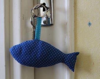 Key fish in blue cotton polka dots
