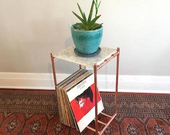 Slim copper plant stand / record storage table