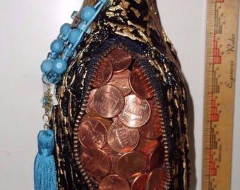 Black Gold Paper Mache Money Wine Bottle w/ Pocket