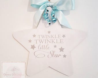 Twinkle Twinkle Little Star Wood Wall Plaque For Baby Nursery / Child Bedroom With Ribbon