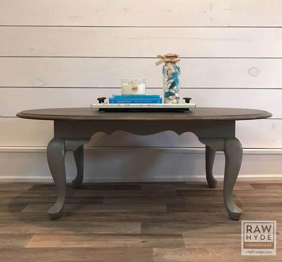 Etsy Wood Oval Coffee Table: Coffee Table/Faux Barn Wood Finish/Gray Distressed