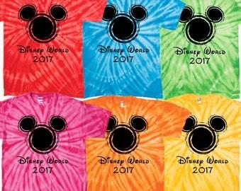 Walt Disney World family vacation 2017 tie dye t shrits matching tee clothing magic kingdom epcot animal kingdom hollywood studios