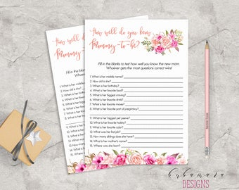 Baby Shower How well do you know Mom Game Game Pink Floral Baby Game Trivia Pink Roses Baby Shower Card Digital Printable Activity - CG017