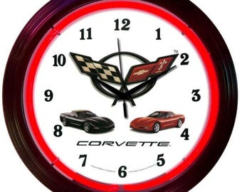 "Antique Style "" Chevrolet Corvette C5 "" Neon Clock"