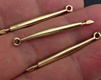 ARTIST PEN Vintage Set of 6 Gold ox pewter  Charms pendant Jewelry Findings made in USA /12Z