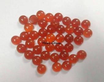 10 Pieces 5mm Carnelian Cabochon Round Gemstone AAA+ Quality Natural Carnelian Round Cabochon Loose Gemstone - Calibrated Size Carnelian