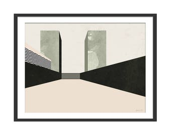 Cityscape Print. Minimal Landscape Abstract Print. Scandinavian Style Wall Decor