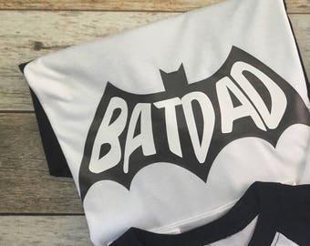Batman Dad. Batdad. Bat Dad. Dads Batman Shirt. Batman shirt for dad. Father's Day shirt. Batman shirt.
