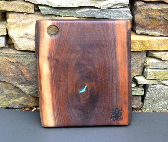Charcuterie Board, Walnut Natural Edge with Turquoise Inlay, #1w-2.95