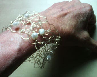 FILIGREE bracelet made of silver wire with South Sea pearls